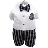 正韓貝貝龍 紳士西裝禮服-灰白托托服 | 婚宴花童兔子裝連身衣正式服裝(嬰幼兒/小孩/baby)