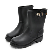 PLAYBOY 俐落簡約舒適短筒雨靴-黑(Y5770)