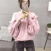 粉色大學T女士外套2018秋裝新款韓版潮學生寬鬆bf風原宿燈籠袖上衣  巴黎街頭
