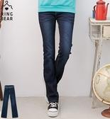 顯瘦--打造窈窕曲線激瘦款弧型亮片刷白附織帶中腰喇叭牛仔長褲(藍S-7L)-N162眼圈熊中大尺碼◎