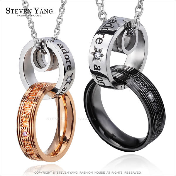 情侶項鍊 對鍊STEVEN YANG西德鋼項鍊「甜蜜笑容」單個價格 附鋼鍊 情人節禮物