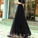 春夏新款黑色網紗半身裙中長款女甜美高腰a字裙紗裙蓬蓬裙中長裙