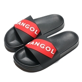 KANGOL 拖鞋 黑紅 大LOGO 橡膠 一片拖 防水耐磨 男女 (布魯克林) 6025220121