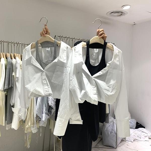 小心機襯衫 韓國東大門春季新款時尚休閒假兩件背心拼接翻領露肩襯衫女潮