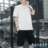 短袖嘻哈t恤男運動套裝夏季2019新款學生寬鬆休閒潮流修身短褲兩件式褲裝LXY3096 甜心小妮童裝