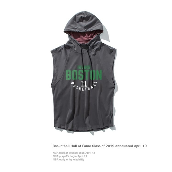 男背心 籃球運動坎肩連帽背心男無袖T恤夏季外穿-全館免運直出