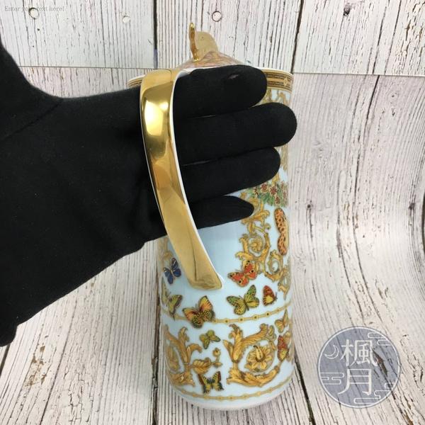 BRAND楓月 VERSACE 凡賽斯 藍色 巴洛克 蝴蝶 庭園 金提把 茶壺 瓷壺