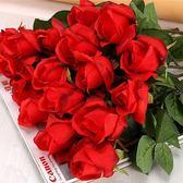 10枝仿真玫瑰花束套裝塑料花假花客廳裝飾花干花餐桌擺件婚慶花藝