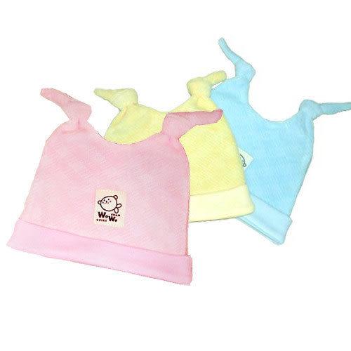 【奇買親子購物網】黃金海獺雙結新生兒帽(藍/粉/黃)