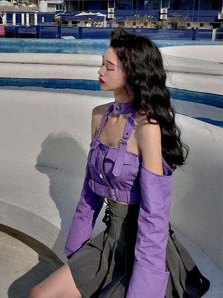 克妹Ke-Mei【AT61439】CASUAL秋外貿單獨角獸紫吊頸皮釦牛仔外套