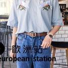 腰帶/簡約黑色PU細針扣皮帶休閒【歐洲站】