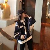 襯衫Polo領百搭衛衣女寬鬆長袖拼色外穿上衣秋【小酒窩服飾】