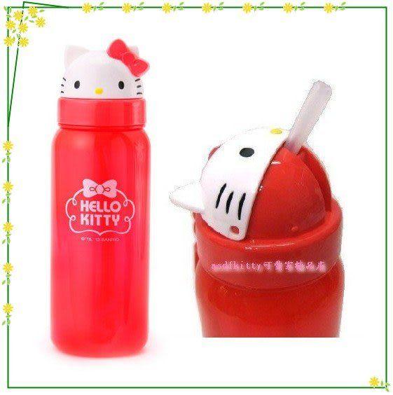 asdfkitty可愛家☆KITTY大臉造型吸管水壺500ML-可當學習杯-幼兒園好用歐-日本正版商品