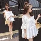 棉麻T恤 夏裝v領鏤空半袖白色t恤女士正韓寬鬆棉麻短袖上衣小衫潮-Ballet朵朵