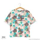 【INI】週慶限定、輕盈柔感花樣上衣.綠色
