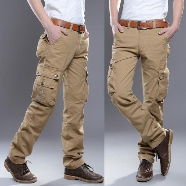 多口袋工裝褲男長褲寬鬆迷彩褲男運動休閒褲直筒軍裝工作褲男 黛尼時尚精品