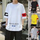 男士短袖t恤夏季新款韓版潮流男裝運動ins帥氣潮牌五分袖夏裝 英賽爾