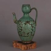 宋磁州窯綠釉刻花長柄長嘴壺 仿宋代出圖瓷器古玩古董舊貨裝飾品
