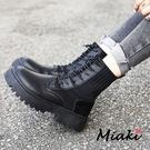 短靴-韓風穿搭厚底綁帶襪靴