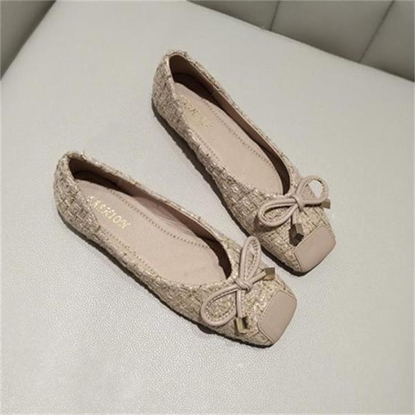 方頭平底鞋女淺口小香風平跟蝴蝶結豆豆鞋軟底奶奶鞋
