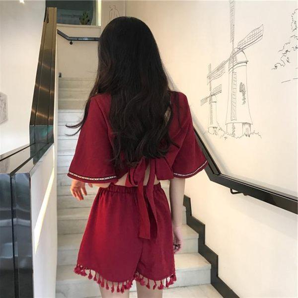 泰國潮牌海邊度假民族風流蘇連身裙褲小心機露背連體闊腿短褲女夏