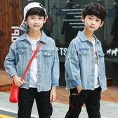 男童單寧牛仔外套正韓純色短款蝙蝠袖中大童上衣兒童裝單寧牛仔服潮-BB奇趣屋