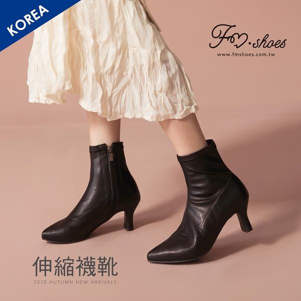 靴.韓-皮革尖頭扁跟襪靴(黑)-FM時尚美鞋-韓國精選.Party