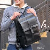 後背包潮流時尚休閒青年後背包男士背包日韓版大容量黑色PU皮書包男