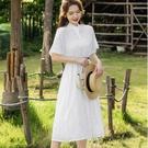 鏤空花朵V領棉質洋裝(附腰帶)[99223-QF]美之札