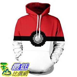 [美國直購] 神奇寶貝 精靈寶可夢周邊 Redfly1 Unisex Pokemon Pokeball Hoodie Cosplay Outfit Sweatshirt S~XXXL