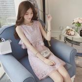 洋裝 夏季2020新款小清新雛菊碎花無袖蕾絲連身裙女小個子甜美少女裙子 韓慕精品