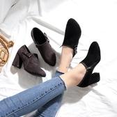 裸靴 馬丁靴女秋冬新款韓版蝴蝶結粗跟尖頭磨砂短靴復古英倫風 - 歐美韓熱銷