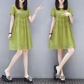 洋裝 大碼200斤春夏短袖顯瘦寬鬆200斤胖妹妹mm心機洋氣牛油果綠連身裙