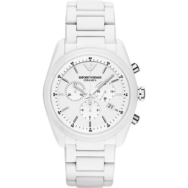Emporio Armani 亞曼尼 Ceramica 時尚三眼陶瓷計時手錶-銀x白/42.5mm AR1493