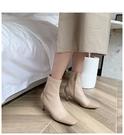大尺碼真皮女鞋34-43☆2020新款韓國瘦瘦靴 時尚百搭頭層牛皮拼接方頭彈力靴~3色