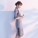 少女旗袍裙夏季2018新款女老上海改良中袖洋裝中長款中國風秋季 鹿角巷YTL