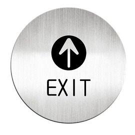 迪多Deflect-o 鋁質圓形貼牌-英文EXIT出口指示 612210S