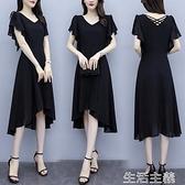 大碼洋裝 大碼女裝胖mm微胖女孩穿搭顯瘦夏季新款時尚雪紡黑色連身裙子 生活主義