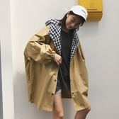 2018春秋新款韓版學院風百搭格子拼接寬松連帽中長款風衣外套女潮