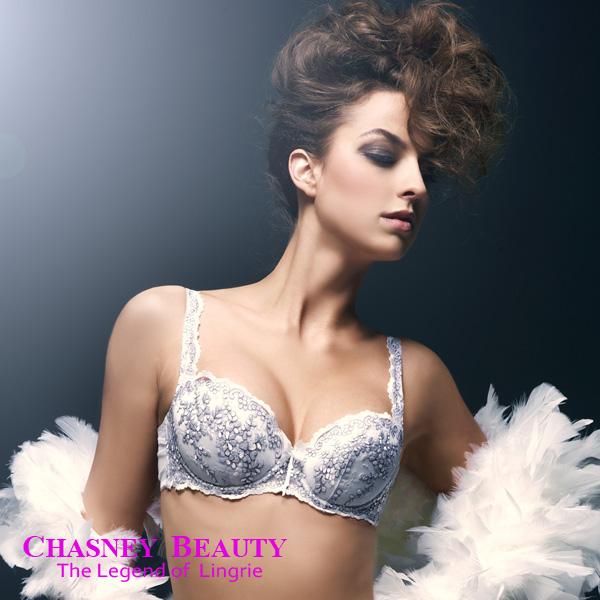 Chasney Beauty-矢車菊Bluebottle立體B-D刺繡內衣(白襯紫)