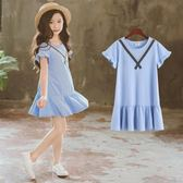 女小童洋氣裙子夏季2018新款韓版中大童12-15歲女童學院風連身裙   初見居家