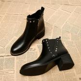 高跟短靴女春秋2018新款百搭秋冬女鞋中跟粗跟秋款單靴瘦瘦馬丁靴