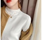 半高領打底衫女秋冬內搭爆款毛衣百搭薄款白色寬鬆洋氣針織上衣 童趣潮品