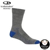 【Icebreaker 男 中筒薄毛圈健行襪《灰/藍》】105113/快乾機能襪/排汗襪/羊毛襪