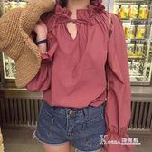 長袖上衣 寬鬆套頭襯衫女純色喇叭袖V領繫帶簡約學院風休閒上衣潮?Korea時尚記?