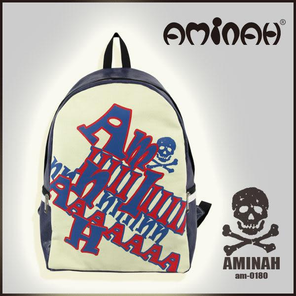美式風格 骷髏頭 字母後背包 淺綠配紅 AMINAH~【am-0180】
