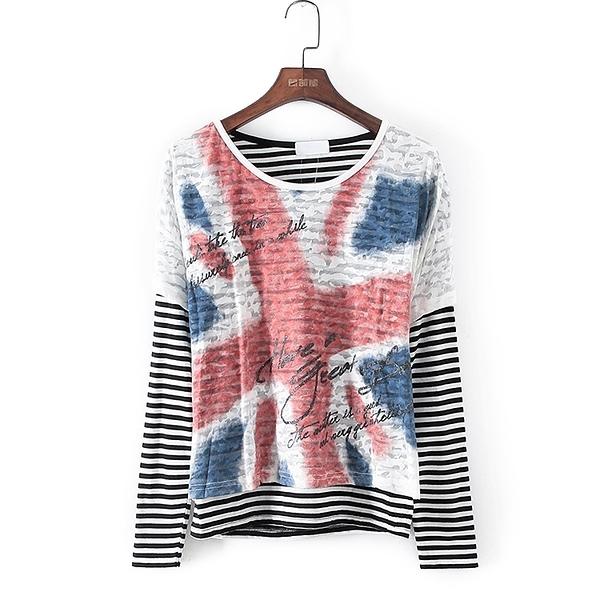 [超豐國際]好春秋裝女裝黑色歐美風格兩件套T恤 33735(1入)