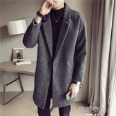 新款ins中款風衣男韓版潮流中長款毛呢大衣男士呢子學生外套