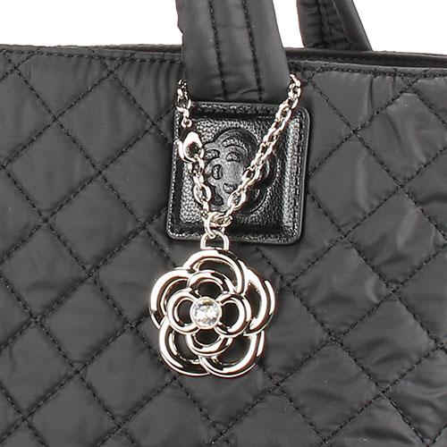 CLATHAS 山茶花吊飾菱格紋尼龍手提肩背托特包(黑色)201000-10
