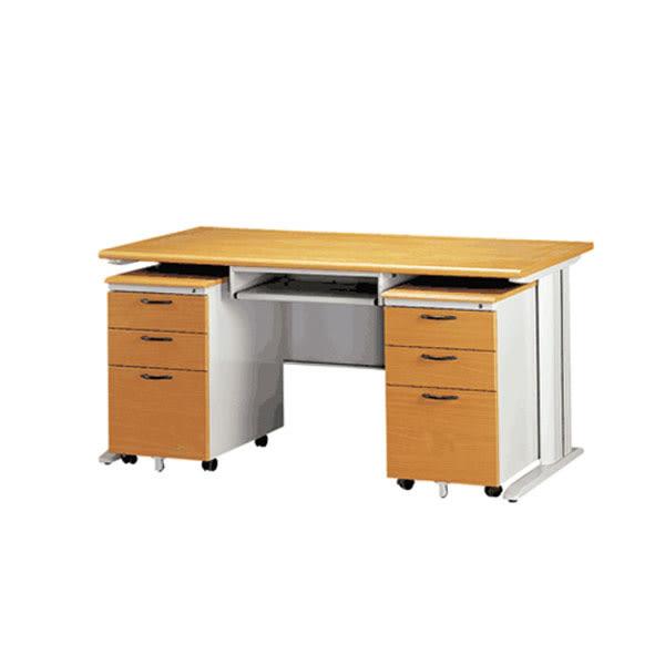 【YUDA】160- CD木面灰體辦公桌(鐵鍵盤/兩個木紋活動櫃)905色 4件組/辦公桌/寫字桌